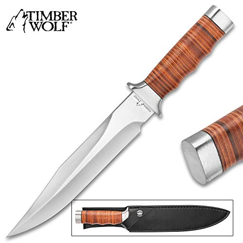 - Timber Wolf Leather Work Bowie Knife and Sheath - Stainless Steel Blade, Leather-Wrapped Handle, Polished Steel Guard and Pommel - Length 13