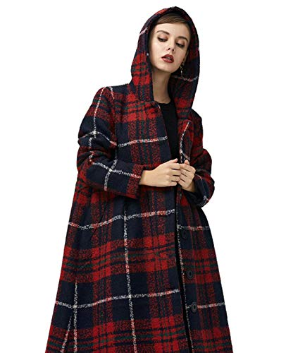 YESNO AF5 Women Fashion Long Maxi Hooded Jacket Plaid Wool Blend Outwear Coat Slit Back/Pockets (L, As Picture1) -