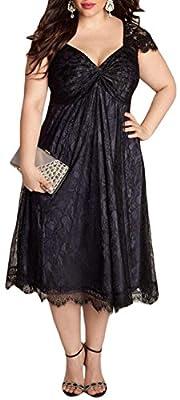 IF FEEL Elegant Lace Overlay Embellished Black Plus Size Women Cocktail Dress