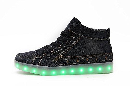 Idea Frames Mujer Led Zapatos Chargebale High Top Botas De Lona