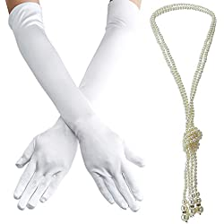 1920s accessories Set Headband,Necklace,Gloves,Cigarette Holder and Feather Boa (Z5)