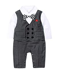 Cotrio Baby Boy Tuxedo Outfit Gentleman Bowtie Formal Suit for Birthday Wedding Party Clothes Outfits Set