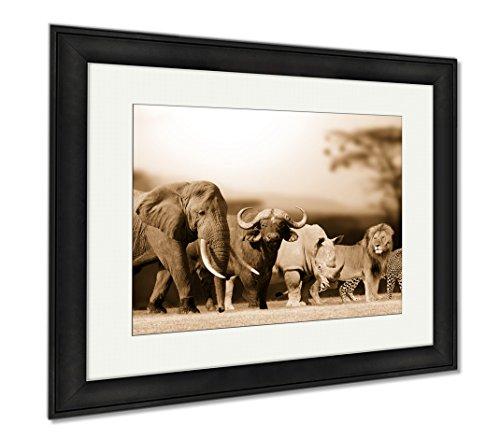 Ashley Framed Prints Big Five Game, Wall Art Home Decoration, Sepia, 26x30 (frame size), Black Frame, - Ebony Panthera