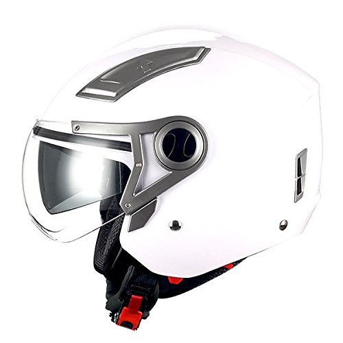 - 1STORM MOTORCYCLE OPEN FACE HELMET SCOOTER BIKE DUAL LENS/SUN VISOR GLOSSY White