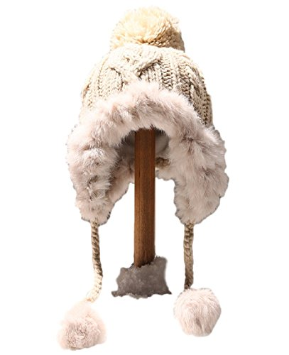Vegang Women Winter Real Rex Rabbit Fur Knitted Hat Ear Protector Cap Outdoor (Beige) (Rabbit Hat Rex)