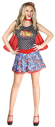 Fun World Costumes Women's Comic Book Cutie Adult Costume, Black/Red, Small/Medium (Book Costumes For Adults)