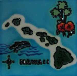 - Hawaii Map Decorative Ceramic Wall Art Tile 6x6