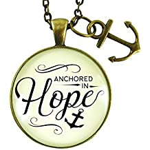 "24"" Anchored In Hope Nautical Anchor Necklace For Women Faith Vintage Inspired Pendant Caring Words Charm Jewelry Gift"