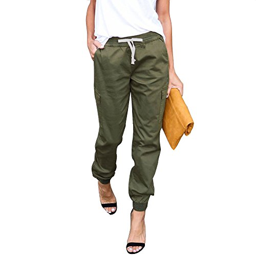 LINGMIN Women's Casual Twill Jogger Pants Drawstring Skinny Cargo Pants with Pockets Army Green