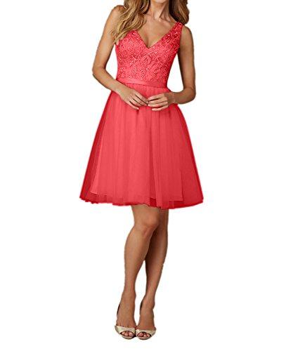 Brautjungfernkleider Abendkleider Charmant Rot Ausschnitt Knielang Partykleider Spitze Damen Champagner V Kurz UWaqxU8P4