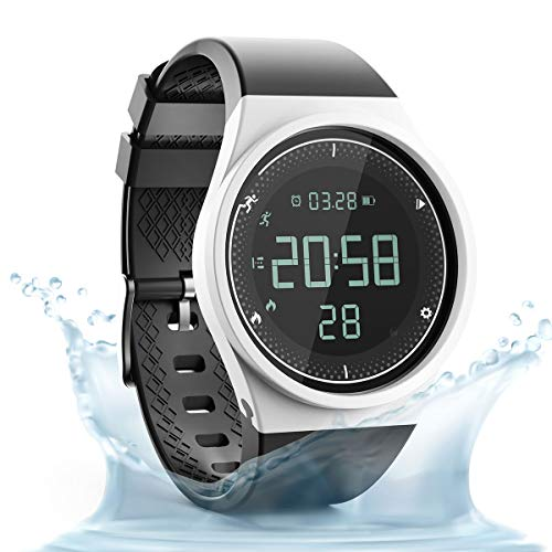 synwee Sports Fitness Tracker Digital Watch,IP68 Waterproof,Non Bluetooth, with Pedometer/Vibration Alarm Clock/Timer for Men Women Teenager Children (White-Black) ...