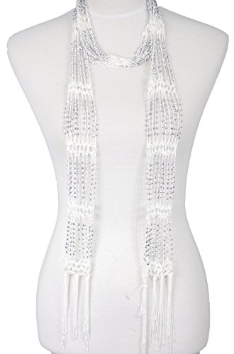 (Fishnet Beaded Scarf , summer Belt , infinity scarf, necklace (BLS01-WHT))