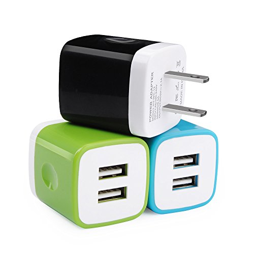 USB Wall Charger, UorMe 3PC 2.1A Dual Port Travel Adapter High Speed Wall Cube Compatible iPhone X/8/7/6/6 Plus, Samsung Galaxy S9 S8 S7 S6, Note 5, HTC, LG, Nokia, Google Pixel, Blackberry and More