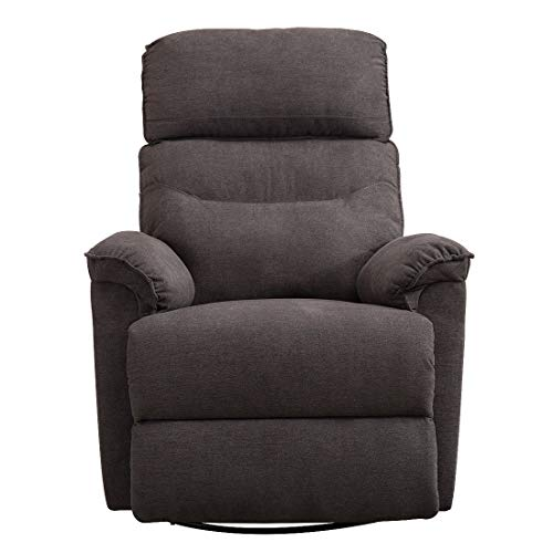 CANMOV Swivel Rocker Recliner Chair – Single Manual Reclining Chair, 1 Seat Motion Recliner Chair with Padded Seat Back, Gray