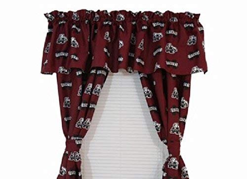 Mississippi State Bulldogs - (1) Printed Curtain Valance/Drape Set (Drape Length 63 Inches) to Decorate One Window - NCAA College Licensed Window Treatment ()