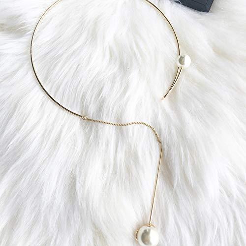 Shukunネックレスファッションワイルドメタルフリンジパールカラーショートネックレス鎖骨の女性のアクセサリーの質感(2個)   B07HLFQFQN