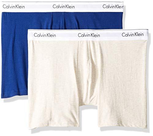 Calvin Klein Men's Modern Cotton Stretch Boxer Briefs, Dark Knight/Oatmeal Heather, M