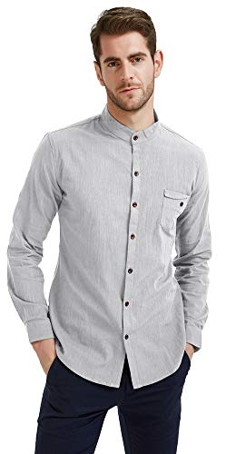 Plaid&Plain Men's Slim Fit Long Sleeve Banded Collar Solid Linen Shirts Grey L