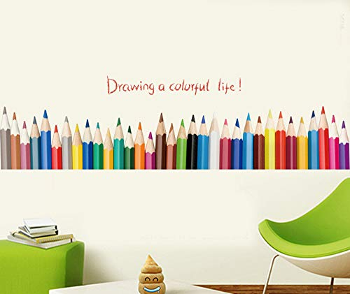 qingyuge Wall Sticker Drawing A Colorful Life Pencil