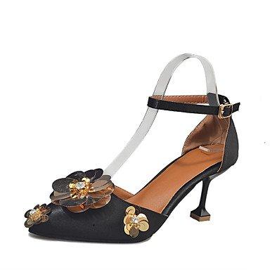 2 5 Femme Talons Gray Fleur Strass Eté Lvyuan Gris Chaussures À Noir Aiguille Automne 5 Polyuréthane Cm ggx 4 Talon ZIFxFw6