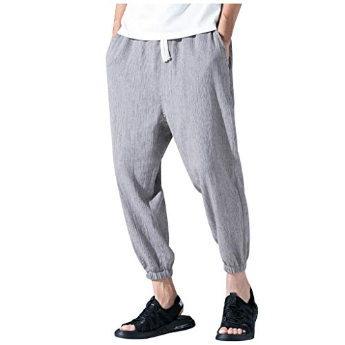 ✦◆HebeTop✦◆ Mens Cotton Loose Joggers Casual Lounge Pajama Gym Workout Yoga Pants Gray (Future Beach Trophy)