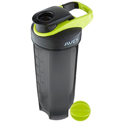 Avex MixFit Shaker Bottle 28 oz. with Loop Clip Top - Black/ Electric Green ()