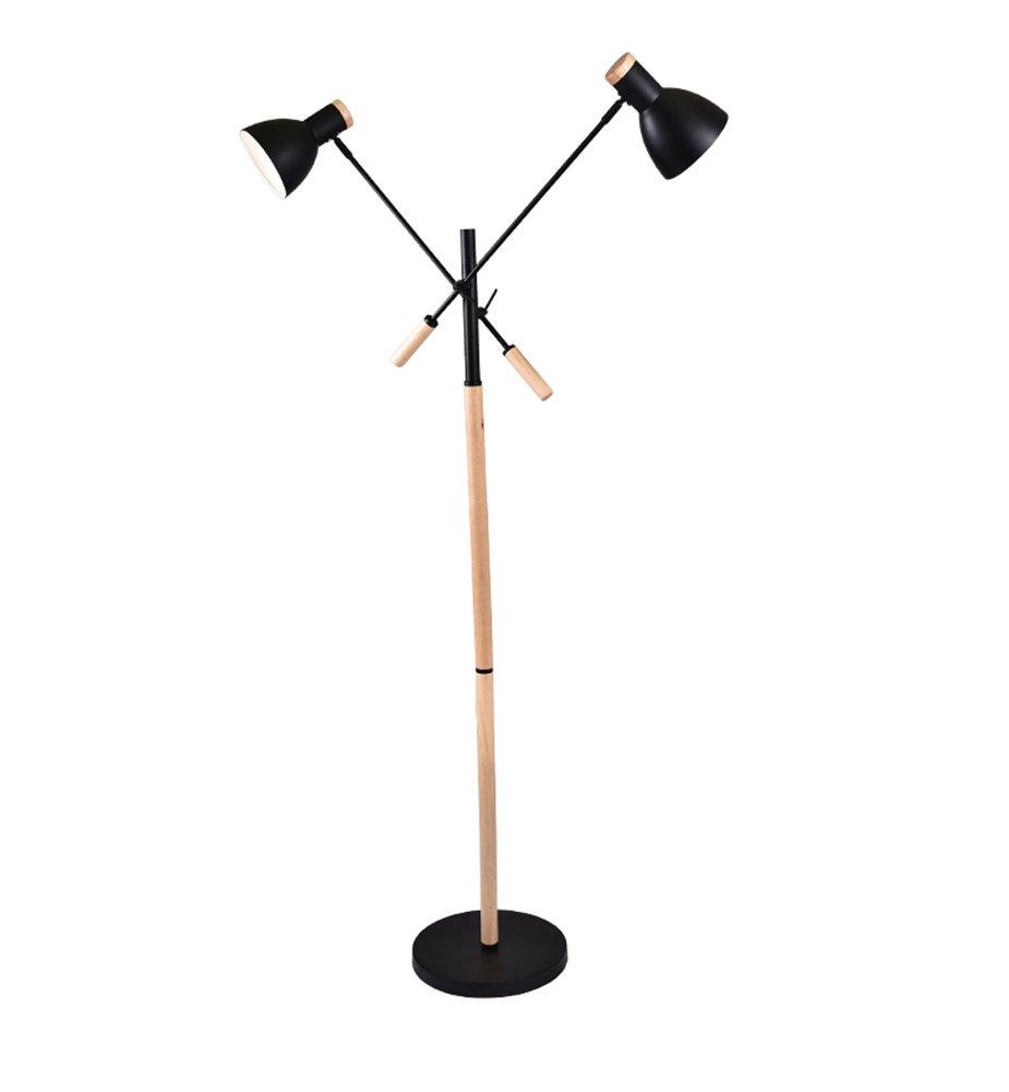 アイロンフロアランプ、現代的なシンプルさ北欧のベッドルームの寝室のリビングルームの研究のコーヒーテーブルダブルヘッドリーディングE27 * 2高128cmフットスイッチ ( 色 : ブラック )  ブラック B0768TBB2L