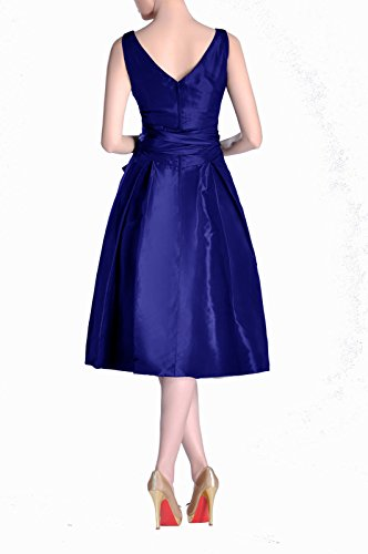 Dress Tea neck bridesmaids Modest Length Pleated Bridesmaid Königsblau Taffeta V A line Formal 5P8xqwXX