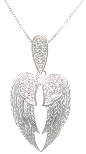Jewelry Trends Sterling Silver Pave CZ Angel Wings Pendant Necklace 18