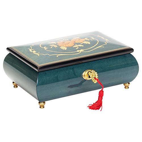 - Flower Dark Blue Italian Hand Crafted Inlaid Wood Music Box Plays Moonlight Sonata