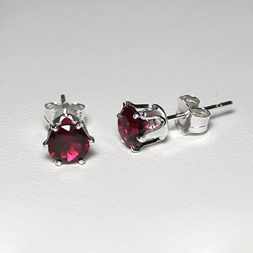 a51365a5a Image Unavailable. Image not available for. Color: Ruby Earrings Sterling  Silver ...