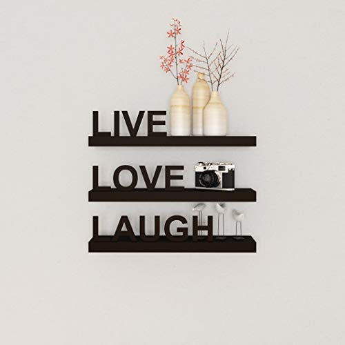 Decorative Home Decor, Inspiring Live Laugh Love Wall Floating Shelves Set MDF Wood, Black Contemporary Modern Stylish, Chic Wall Shelves Showcasing Three Positive Attitude Bold Words Wall Art, Sturdy