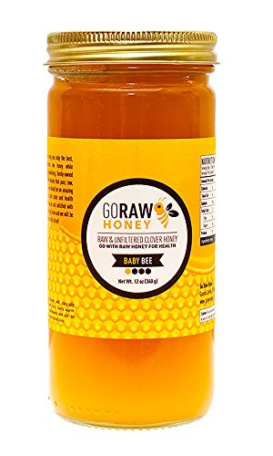 12oz Gift-Sized Glass Jar Of Pure Raw Clover Honey | ''The Baby Bee'' | Unfiltered, Unpasteurized, No Sugars/Water Added, 100% American Grade A Honey From Family-Owned Farms by Go Raw Honey