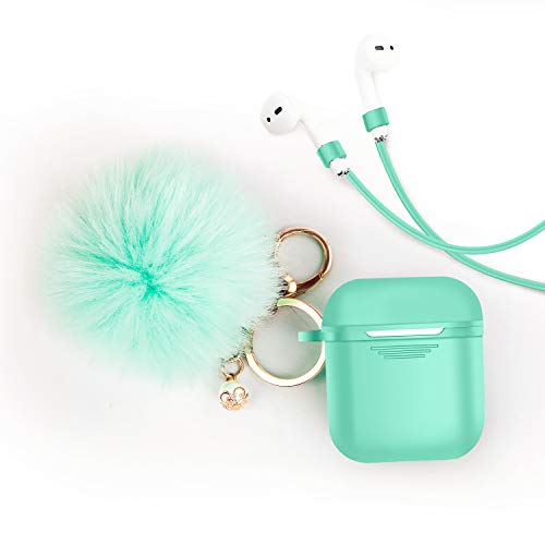 Airpods Case Cover - LEWOTE Airpods Silicone Cute Accessories [Protective Case, Anti-Lost Strap, Fur Ball Keychain] for Apple Airpod 1&2 (Mint Green)