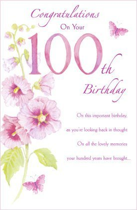 Amazon Com 100th Happy Birthday Nice Verse And Flower Female New