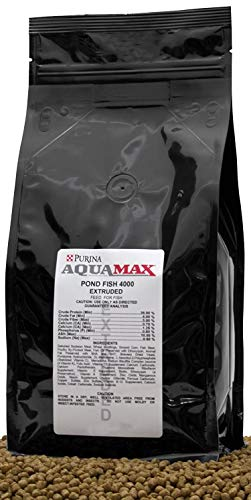 Purina Mills Aquamax Pond Fish 4000, 32 Percent Protein, 3/16 Inch(4.8mm) Floating Pellet For Catfish, Tilapia, Large Koi and Goldfish, Carp, and Many Other Omnivorous Fish That Normally Populate Ponds 16 Ounces