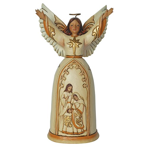 Jim Shore for Enesco Heartwood Creek Ivory and Gold Nativity Angel Figurine, 7.25