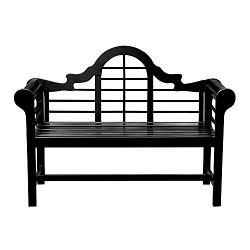 Cedar English Garden - Achla Designs OFB-11 Lutyens Indoor/Outdoor Garden Bench, Black, 4 ft