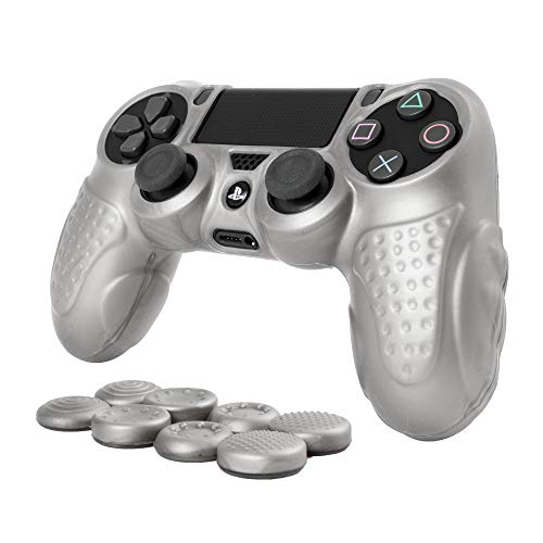 (CHINFAI PS4 Controller DualShock 4 Skin Grip Anti-Slip Silicone Cover Protector Case for Sony PS4/PS4 Slim/PS4 Pro Controller with 8 Thumb Grips (Silver))