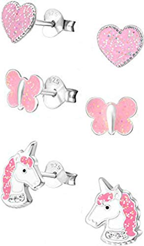 (Hypoallergenic Sterling Silver Glitter Heart, Butterfly and Unicorn Stud Earrings Set (Nickel Free))