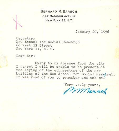 Bernard M. Baruch – Typed Letter Signed 01/20/1956