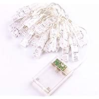 1.5M 10 LED Photo Hanging String Lights, LED Battery Powered Picture Display Clip Starry light with remote Warm White