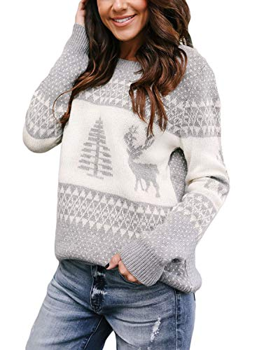 - Sidefeel Women Christmas Pullover Sweater Cute Reindeer Jumper Medium Grey