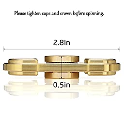 100% Brass Spinner Fidget Toy Hand Spinner Stainless Steel Bearing High Speed Stress Reducer / Guarantee 6 minutes Spin Time / Improve Focus, Reduce ADHD Anxiety and Boredom
