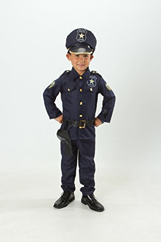 MONIKA FASHION WORLD Police Officer Costume Set for Kids Light up Badge on Shoulder T S M 3 4 5 6 7 'M 5-7' (S 4-5)