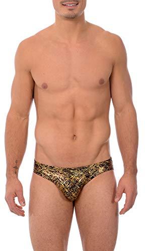 Contour Pouch Swim Brief - Gary Majdell Sport Mens Print Contour Pouch Bikini Swimsuit (Small, Flick_BLK_GLD)