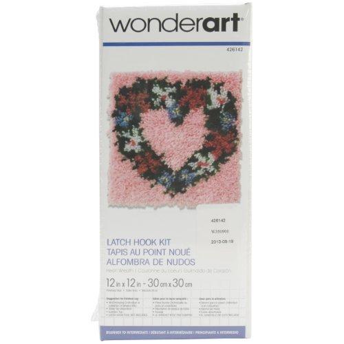 Spinrite Wonderart Latch Hook Kit, 12 by 12-Inch, Heart Wreath by Spinrite ()