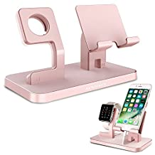Apple Watch Stand, Cellphone Tablet Stand, iPhone 6 7 8 X Stand, BENTOBEN Charging Stand Dock Station Cradle Nightstand for Apple iWatch iPhone iPad Mini Silicone Charger Holder Anti Slip Rubber Pad - Rose Gold