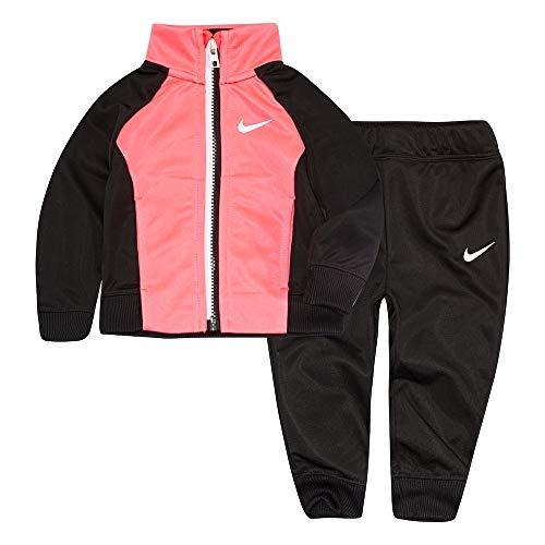 Nike Little Girls` Therma-Fit Full Zip Hoodie & Jogging Pants 2 Piece Set (Black(26E166-023)/Pink/White, 3T)
