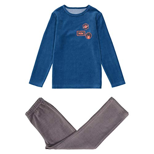 La Redoute Collections Velour Space Print Long-Sleeved Pyjamas, 3-12 Years Blue Size 5 Years (108 cm) from La Redoute